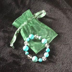 Jade & crystal bracelet